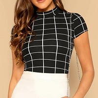 Mock Neck Grid Crop Shirt Top Tee