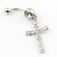 316l Stainless Steel Clear Crystal Cross Dangle Navel Ring Belly Barbell Body Piercing 14g 7/16