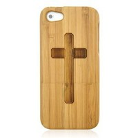 Hand Carved Cross Bamboo Phone Case For iPhone 5