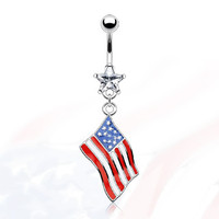 14g Dangling American Usa Flag with Clear Star Gem Belly Button Ring Dangle Navel Body Jewelry Piercing 14 Gauge