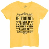 Womens If Found Return To Nearest Country Music Festival Tshirt