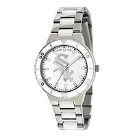 Chicago White Sox Ladies Quartz Analog Watch With Silver Round Case Silver Bracelet 35.9Mm Pearl