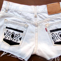 Distressed tribal shorts