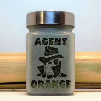 Agent Orange Etched Glass Stash Jar- Free UPGRADE to Priority Mail within the US