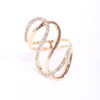 Gold High Polish Metal Twisted Rhinestone Accent Ring