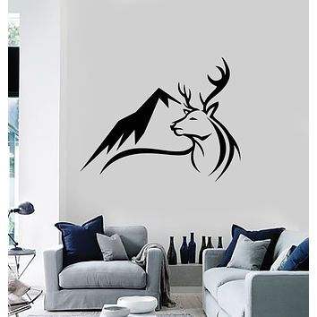 Vinyl Wall Decal Mountain Animal Deer Head Landscape Nature Stickers Mural (g3402)