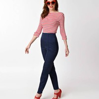 Banned Navy High Waisted Tempting Fate Cigarette Pants