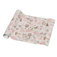 Pink and Brown Forest Christmas Wrapping Paper