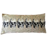 Lacy Skull Row Decorative 28 x 20 Inch Throw Pillow Cover Cushion Case