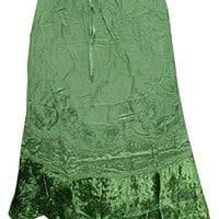 Isobel Womens Long Skirts Green Stonewashed Rayon Embroidered A-line Summer Skirts