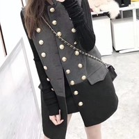 """""""Dior"""" Women Temperament Fashion Multicolor Sleeveless Double Row Buttons Cardigan Middle Long Section Wool Vest Jacket Coat"""