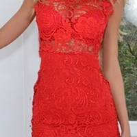 Coral Floral Lace Semi Sheer High Collar Sleeveless Bodycon Fitted Scallop Hem Mini Dress