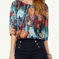 Floral Bubble Peasant Top