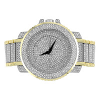 Mens 2 Tone Watch Fully Iced Out Joe Rodeo Jojino Style 56 MM