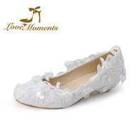 Love Moments  Sweet low heel wedding shoes Lace flowers  bridal wedges  pumps white pearl  female shoes big size 34-44