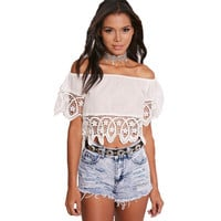 2016 Slash Neck Crochet Lace Patchwork Small Short Crop Tops Off Shoulder Blusa Tees Sexy Outfit Women Summer T-Shirt