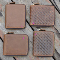100% handmade fashion retro genuine leather wallet vintage card hold gift 25