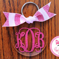 Glitter Monogram Key Chain in Chevron Personalized Key Chain Custom Name Sorority Birthday Bride Wedding Shower Bridesmaid Key Chain