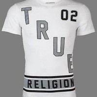 Licensed Official TRUE RELIGION Mens T-Shirt DEFENSE White Black Silver Grey $81 Jeans NWT