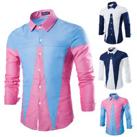 New Color Contrast Casual Shirt