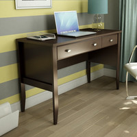 Home Office Work Desk in Chocolate Brown Wood Finish