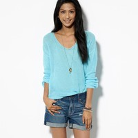 AE OPEN KNIT V-NECK SWEATER