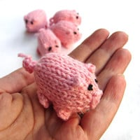 Pink piggy knitted baby toy, little pigs stuffed toy
