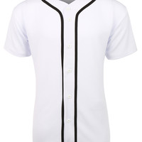 LE3NO Mens Active Short Sleeve Button Up Baseball Jersey Shirt (CLEARANCE)