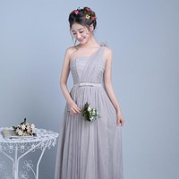 ZX-F1YH#True photos new spring summer 2016 bridesmaids dress  ceremony inclined shoulder take long sisters dresses smoky gray