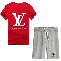 Trendsetter Louis Vuitton Women Men Casual Sport T-Shirt Top Tee Shorts Set Two-Piece