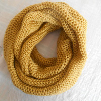 Straw Yellow, Men's Scarf, Neck Warmer, Valentine's Day, Knitted Scarf Infinity Scarf, Women Scarf, Loop Scarf, Gift Ideas, Unisex