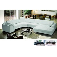 Varese Black Leather Sectional with Left Arm Facing Chaise