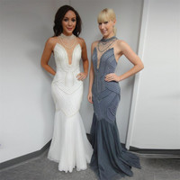 Gergous White Sexy Mermaid Prom Dresses 2016 With High Neck Pearls See Through robe de soiree Gray Formal Party Gowns Cheap Sale