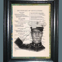 US Marine - Vintage Dictionary Book Page Art, Upcycled Book Art Print on Dictionary Page, Military Print