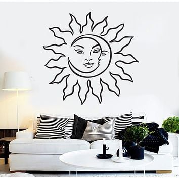 Vinyl Wall Decal Sun Face Moon Crescent Abstract Bedroom Decoration Stickers Mural (g148)