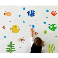 Safe Kids Bathroom Nursery Cartoon Tropical Fish Sea Bubble Children Laptop Wall Stickers Home Decoration