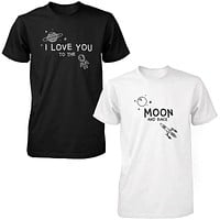 I Love You to the Moon and Back Cute Couple T-Shirts Black and White Matching Tees
