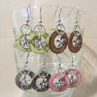 Shell Mother of Pearl Disc Dangle Earrings w/ Silver Flower Charms, Handmade, Summer, Beach, Colorful, Flower Jewelry, Fashion Jewelry