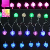 4m 40 Crystal Heart Battery LED String Outdoor Fairy Christmas Lights Party Wedding Halloween Decorations for Home Free Shipping