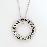 """Bob Siemon Pewter Friend and Proverbs 17:17 Pendant Necklace, 18"""""""