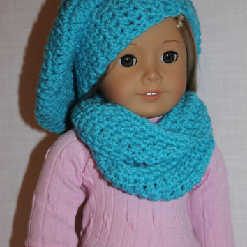 aqua blue beret style crochet slouch hat with infinity scarf,  18 inch doll clothes, American girl, Maplelea