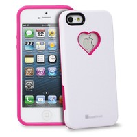 GreatShield RADIANT Series Heart Shape Valentines Day Case for Apple iPhone 5 / 5S (Pink & White)