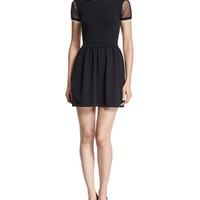 RED Valentino Lace-Sleeve Fit-&-Flare Dress, Black