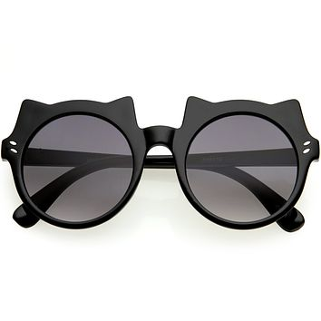 Kids Cat Ears Oversize Round Cat Sunglasses D148