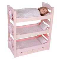 "18 Inch Doll Triple Bunk Bed - Stackable Wooden Furniture Made to Fit American Girl or Other 18"" Dolls"