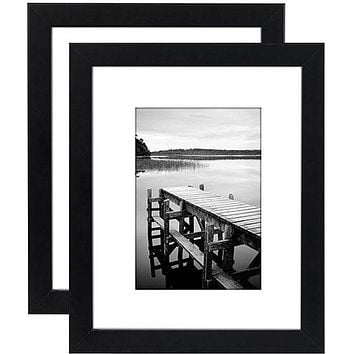 2 Pack - 8x10 Black Picture Frames - 5x7 with Mats - 8x10 Without Mats