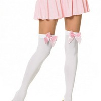 Leg Avenue 6255 Bonnie Opaque Thigh Highs With Accent Bow