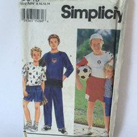 Simplicity 8949 Sewing Pattern Knit Pants and Shorts Boys 8 10 12 14 Vintage 1990s New Uncut