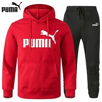 PUMA Classic printed letter logo hooded sweatshirt trousers two-piece suit Red