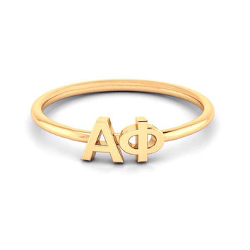 Alpha Phi Yellow Gold thin band letter ring, available in any sorority, other metals